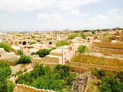 View over Meybod, an oasis city in Iran's Yazd Province