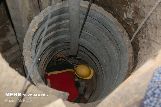 ریزش چاه در نزدیکی متروی قم