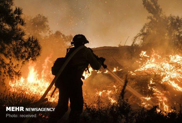 تلاش آتش نشانان برای مهار آتش در کالیفرنیا