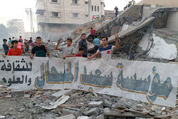 تخریب مرکز «سعید المسحال»  در غزه