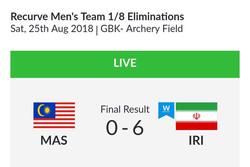 صعود تیم ریکرو مردان به مرحله یک چهارم نهایی