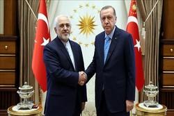 ظريف یجری مباحثات مع نظيره التركي واردوغان في انقرة