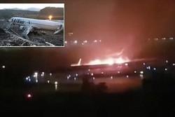 هواپیمای مسافربری در فرودگاه «سوچی» آتش گرفت/ ۱۸ نفر زخمی شدند