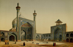 A painting by the French architect Pascal Coste, who visited Isfahan in c. 1840, depicts the main courtyard and two iwans of the Imam Mosque.
