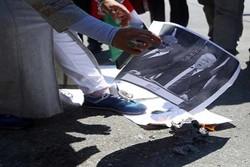 تظاهرات کنندگان تصاویر ترامپ و نتانیاهو را به آتش کشیدند