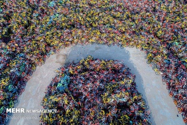 تصاویری از دوچرخه های اشتراکی در چین