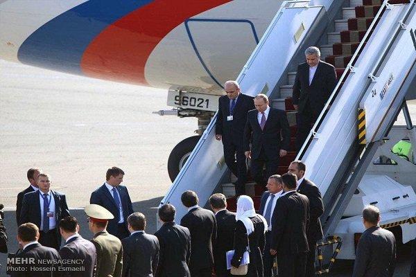 وصول الرئیس الروسي بوتین إلی العاصمة طهران