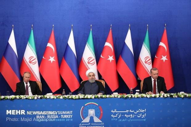 البيان المشترك لرؤساء ايران وروسيا وتركيا يؤكد على وحدة الاراضي السورية