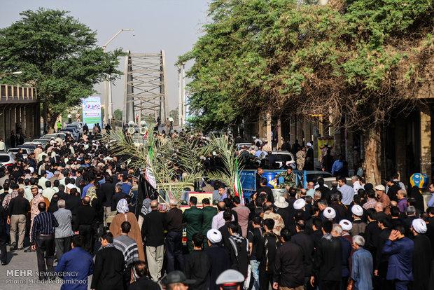 پیکر مطهر  ۹ شهید گمنام در اهواز تشییع شد