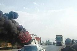 اتوبوس حادثه دیده در جاده همدان - تهران ۱۱ مسافر داشت