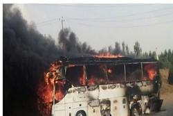 آتش گرفتن اتوبوس مسافربری در جاده همدان - تهران