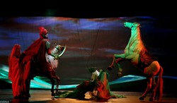 The Aran Theater Troupe performs the Ashura opera puppet show at Tehran's Ferdowsi Hall on December 18, 2013. (IRNA)
