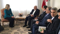 Mogherini, Le Drian meet Zarif in New York