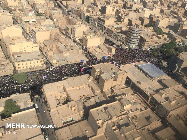 تصویر هوایی از تشییع شهدای حادثه تروریستی اهواز