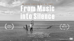 """A poster for Australia-based Iranian filmmaker Farshid Akhlaqi's documentary """"From Music into Silence""""."""