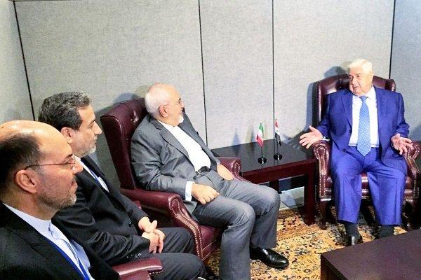 ظریف کی شام کے وزیر خارجہ سے ملاقات