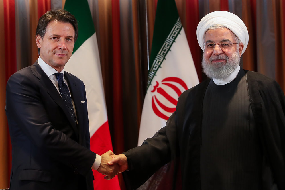 President Rouhani met with Italian Prime Minister Giuseppe Conte on the sidelines of UN General Assembly session in New York on September 26, 2018.