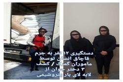 دستگیری ۱۲ نفر به جرم قاچاق انسان/کشف ۳دختر جوان از بار پتروشیمی