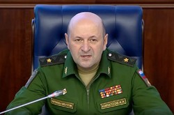 Maj. Gen. Igor Kirillov, the head of the Russian military's radiation, biological and chemical protection troops speaks during a briefing in the Russian Defense Ministry's headquarters in Moscow, Russia, Thursday, Oct. 4, 2018.