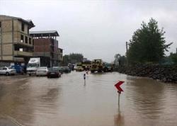 بارش شدید باران و جاری شدن سیل در گیلان
