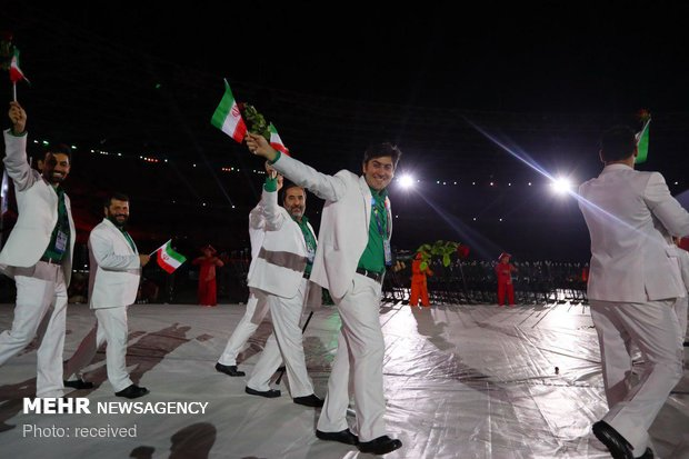 Iran's team staging parade at 2018 Asian Para Games opening ceremony