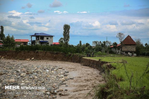 خسارات سیل به روستای سلیمان آباد تنکابن