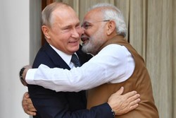 Indian Prime Minister Narendra Modi welcomes Russian President Vladimir Putin prior to their meeting at Hyderabad House in New Delhi, October 5. The two nations' strategic relationship dates back to the Cold War and both leaders were keen to assert their identity as global economic power swings to the East.