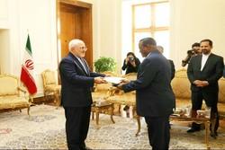 السفير الجديد لجنوب أفريقيا يقدم نسخة من أوراق اعتماده لظريف