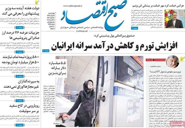 صفحه اول روزنامههای اقتصادی ۱۸ مهر ۹۷