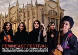 A poster for Shahrzad Ensemble's concert in Gothenburg, Sweden.