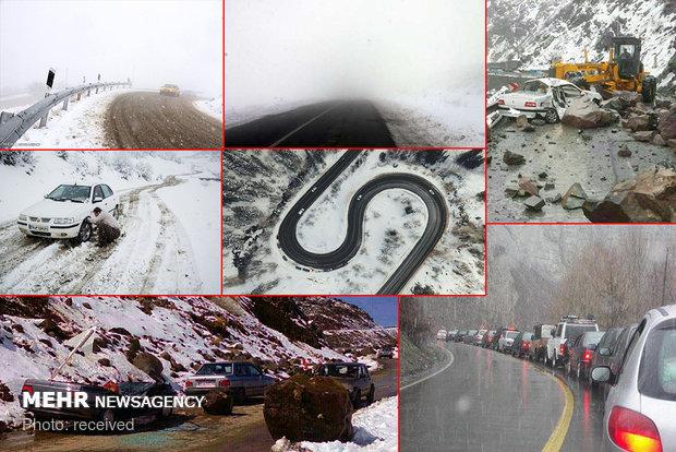 بارش سنگین برف در جاده چالوس