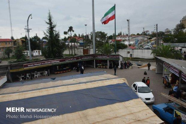 برپایی موکبهای استقبال از زائرین خارجی اربعین در مرز آستارا