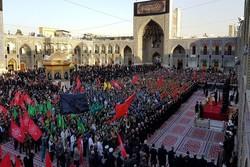 مراسم بدرقه کاروان خادمان اربعین حسینی در حرم مطهر رضوی برگزارشد
