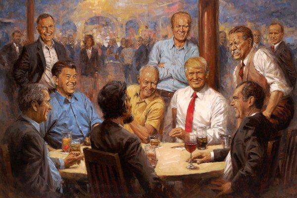 Trump, kendisini eski başkanlarla resmeden tabloyu Beyaz Saray'a astı
