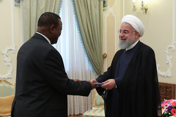Iranian President Hassan Rouhani and  Vika Mazwi Khumalo, the new South African ambassador