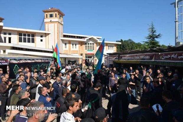 حضور زوار الاربعين من روسيا وآذربيجان وجورجيا بمنطقة آستارا شمال غربي ايران