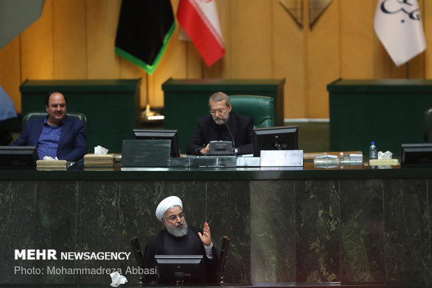 Iranian Parliament session with Rouhani in attendance