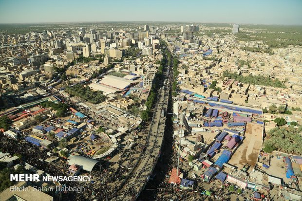 Arial of Photos of Karbala during Arbaeen pilgrimage