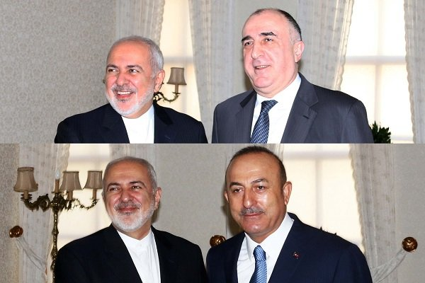 FM Zarif holds separate meetings with Turkish, Azeri counterparts