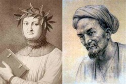 A combination photo shows Italian poet Francesco Petrarca (L) and Persian poet Sadi.