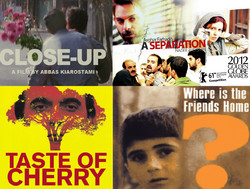 A combination photo shows posters of the Iranian movies that are among the 100 greatest foreign-language films.