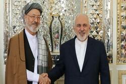 ظريف يستقبل رئيس مجلس السلام الأعلى الافغانستاني في طهران