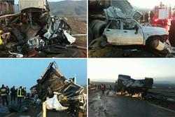 خواب آلودگی و عدم توجه به جلو علت تصادف زنجیره ای در فیروزکوه