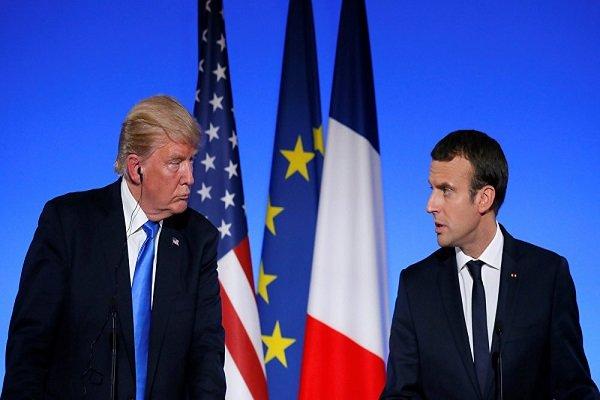 فلم/ امریکی صدر ٹرمپ اور فرانسیسی صدر میکرون کی ملاقات