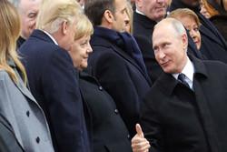 دست دادن متفاوت پوتین و ترامپ در مراسم یادبود جنگ جهانی اول