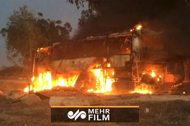 فلم/ صہیونی فوجی گاڑی فلسطینی راکٹ کا نشانہ بن گئی