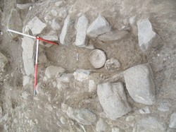 Remains of an Iron-Age tomb in Germi, northwest Iran