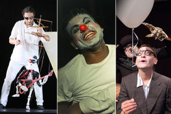 "This combination photo shows scenes from ""Extraordinary Voyage"" (L), ""Thirsty Crow Returns"" (C) and ""A Story of a Man and His Shadow"", which will be performed during the 25th International Theater Fes"