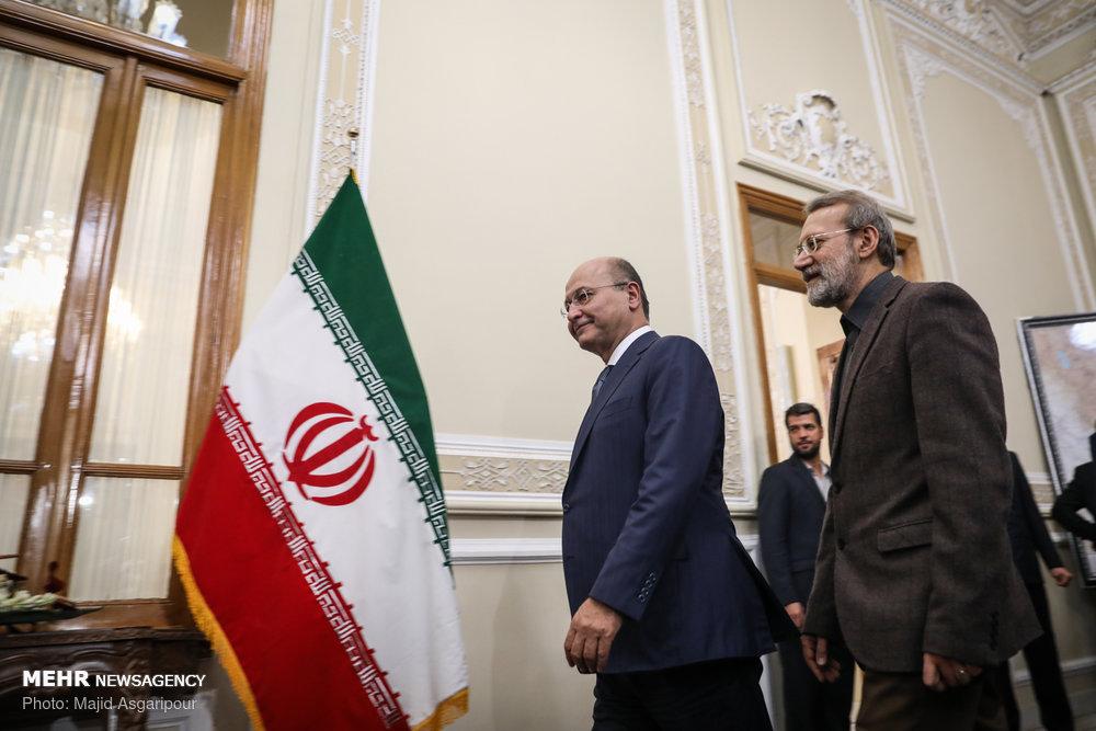 دیدار رییس جمهور عراق با رییس مجلس شورای اسلامی