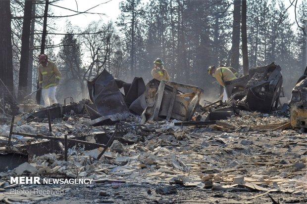 جستجوی بقایای اجساد قربانیان آتش سوزی کالیفرنیا
